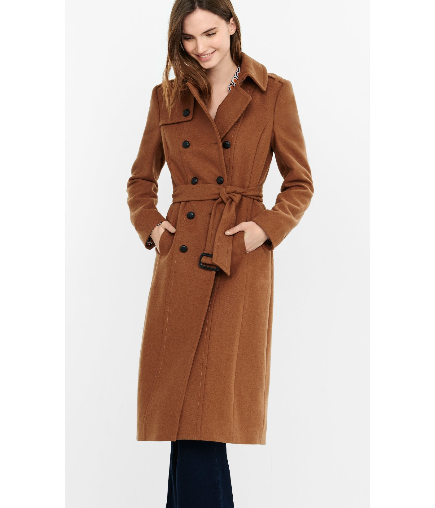 Lyst Express Long Wool Blend Trench Coat In Brown