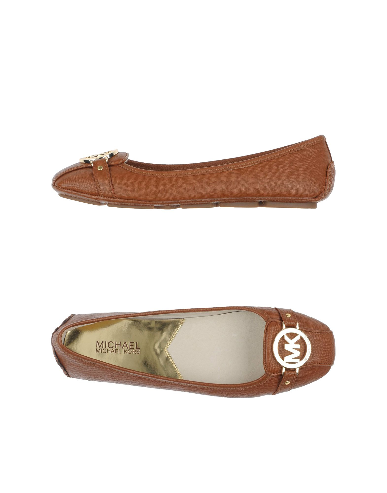 Brown Leather Ballet Flat Shoes