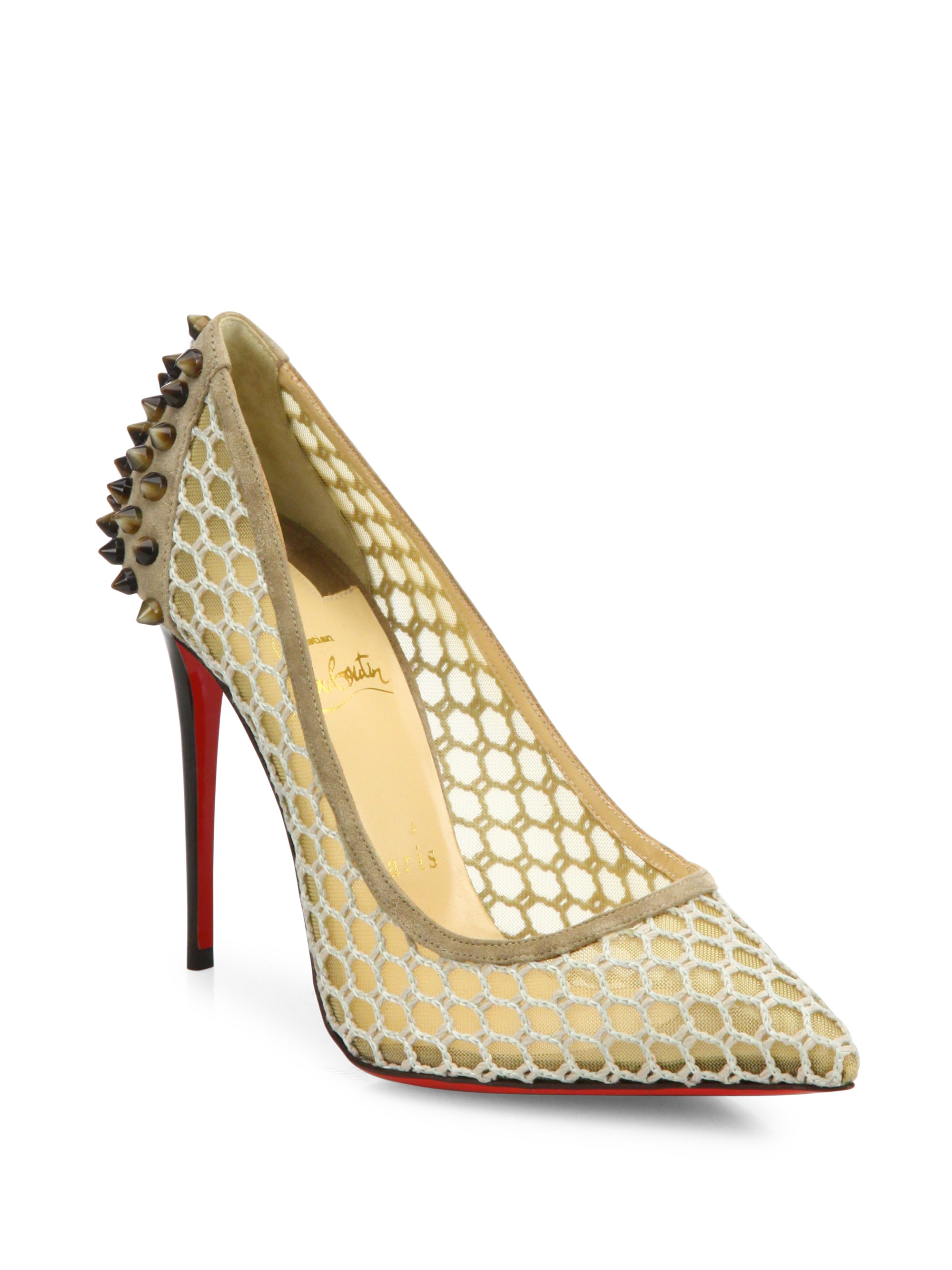 bf409c6a952e Christian louboutin Guni Suede-trim Spiked Mesh Pumps in White