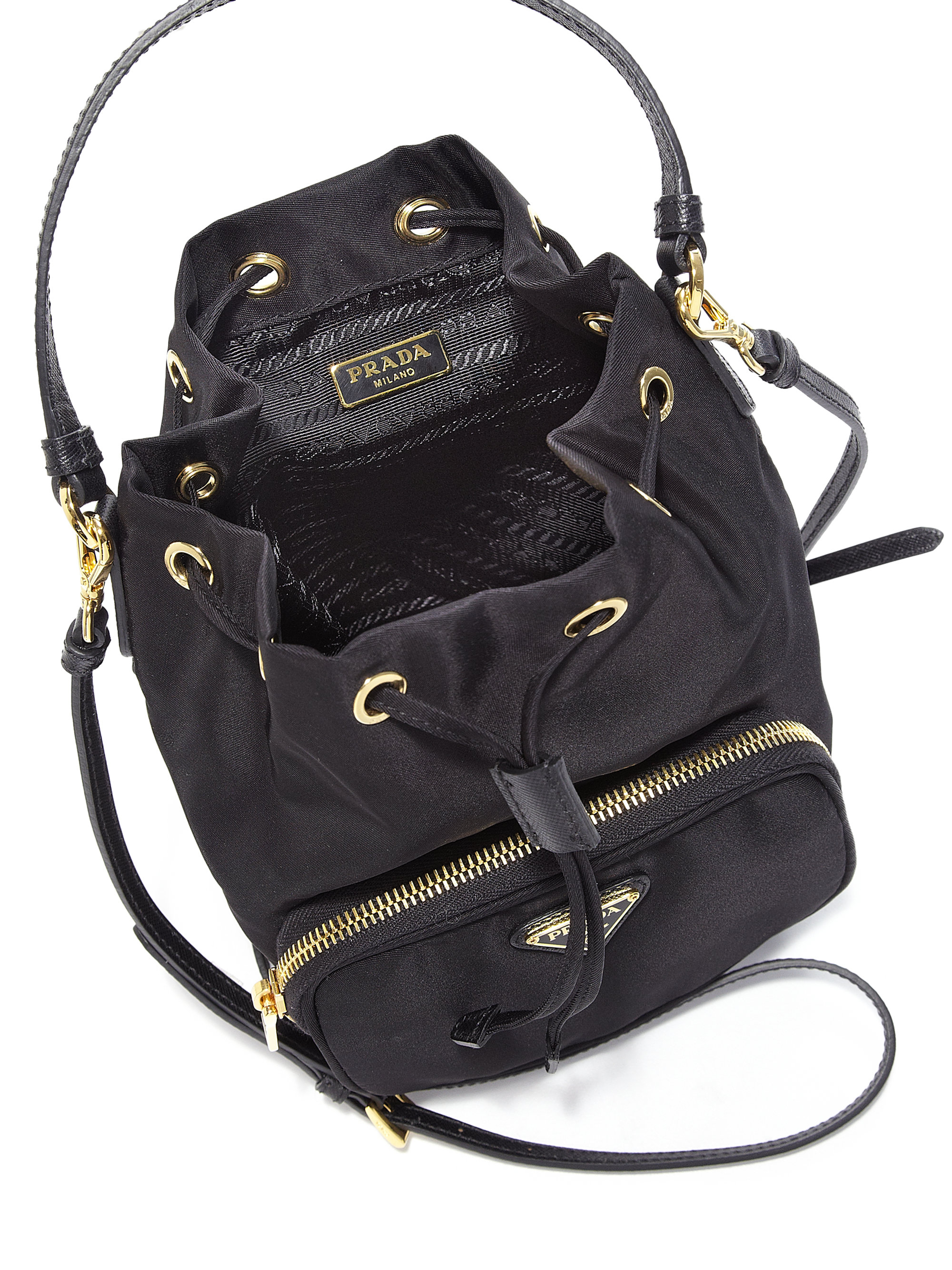 Prada Tess Drawstring Nylon Pouch Crossbody Bag in Black (NERO ...