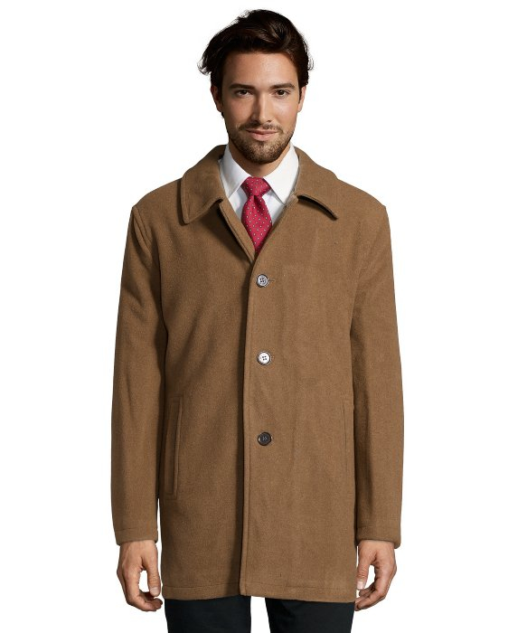 Cole haan Camel Wool Blend Button Front Car Coat in Brown for Men ...