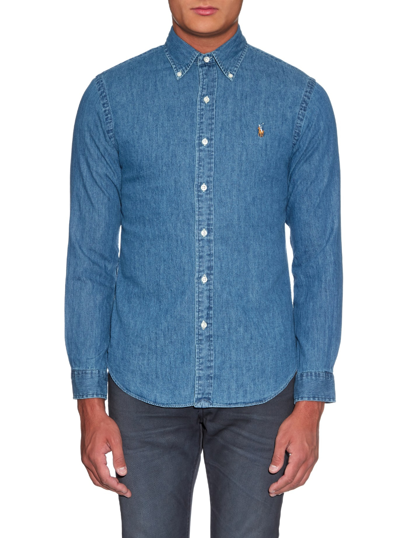 Polo ralph lauren slim fit denim shirt in blue for men lyst for Polo shirt and jeans