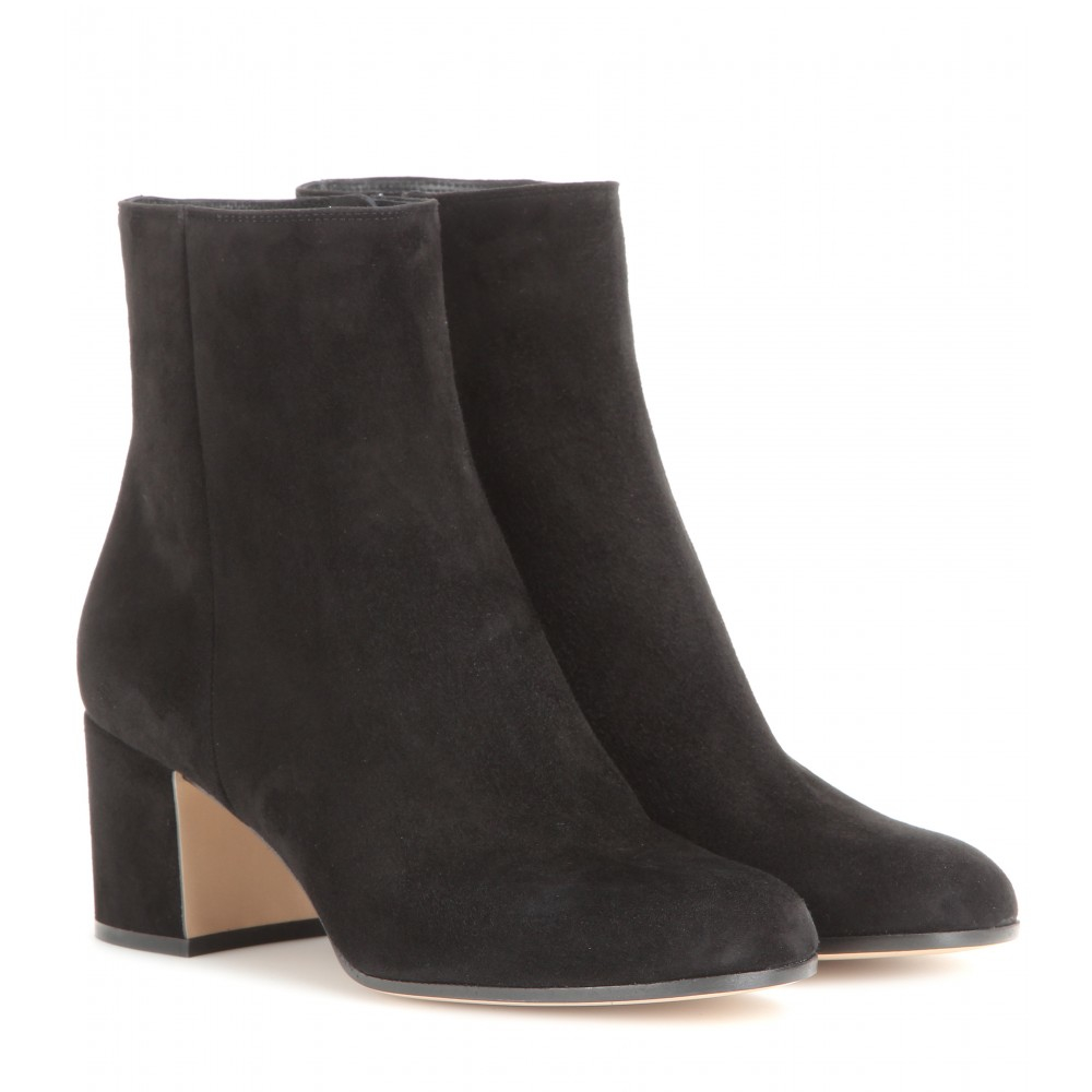 gianvito rossi margaux suede ankle boots in gray lyst. Black Bedroom Furniture Sets. Home Design Ideas