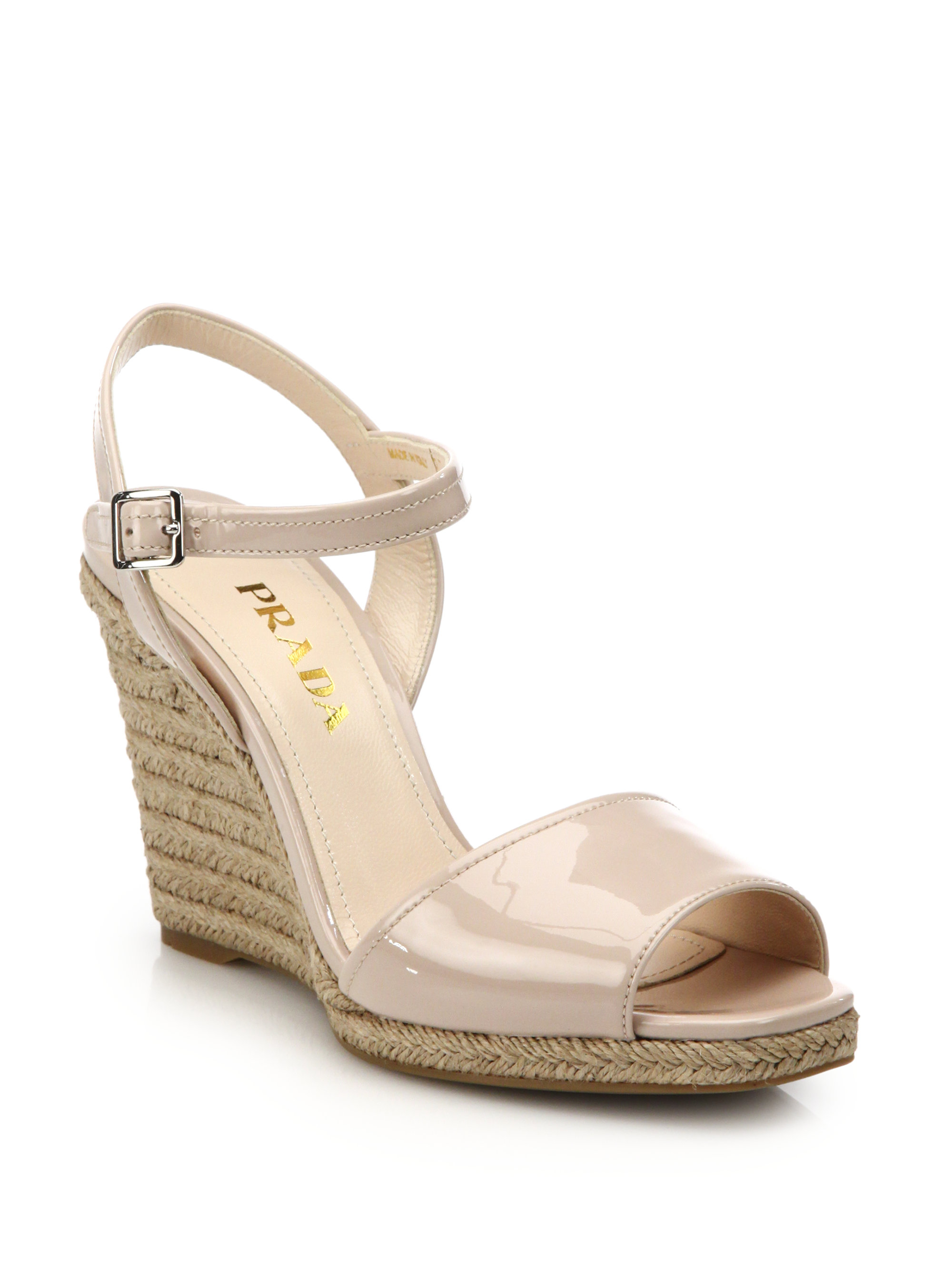 Prada Patent Espadrille Sandals good selling sale online clearance best prices good selling cheap online sale latest YjKJN0