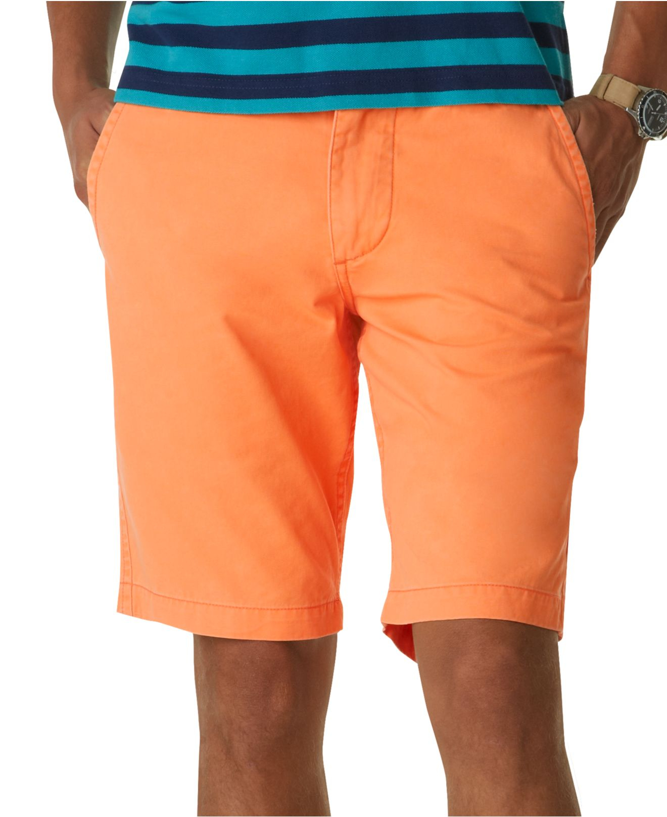 Dockers Discontinued Alpha Flat Front Khaki Shorts in Orange for ...