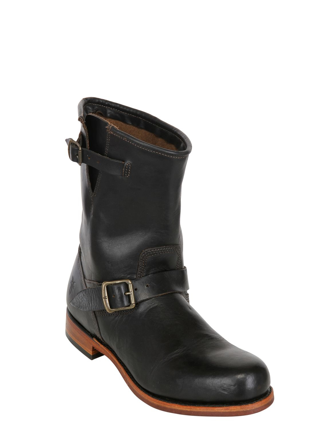 frye 25mm arkansas engineer leather boots in black lyst
