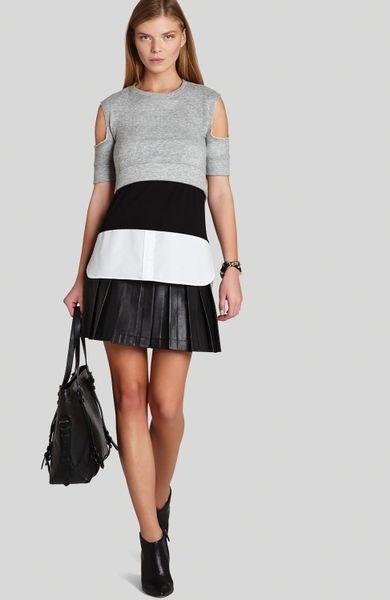 Bcbgmaxazria Mini Skirt Shane Pleated Faux Leather in