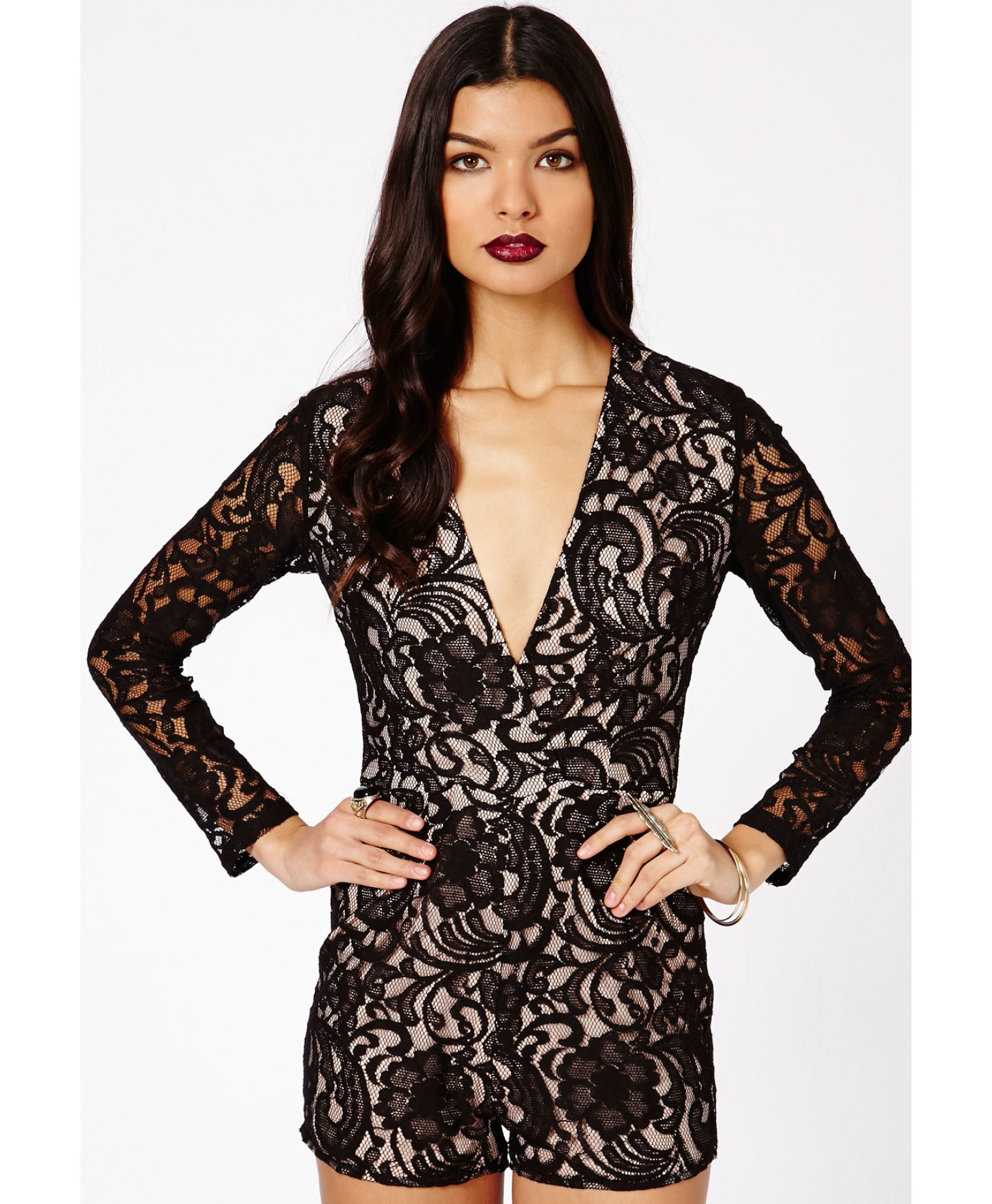 81a6ee3dc6 Lyst - Missguided Andreia Lace Plunge Playsuit In Black in Black