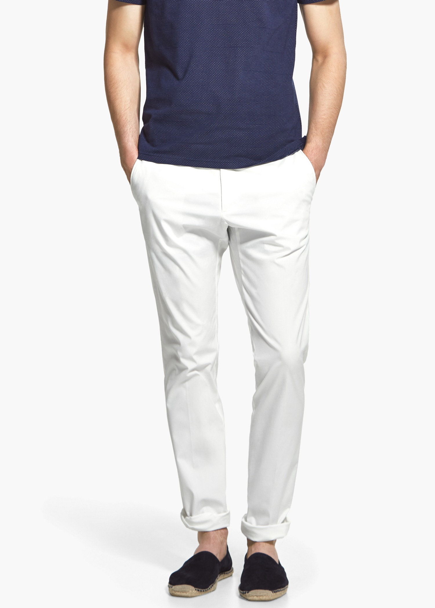 2d87151dd0710 Lyst - Mango Cotton Chinos in White for Men
