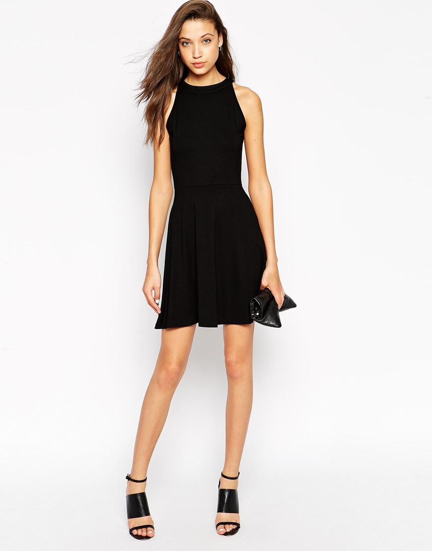 Lyst - ASOS High Neck Skater Dress in Black f6885f4fc