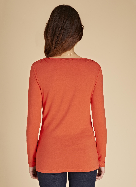 Baukjen the cowl neck top in orange lyst