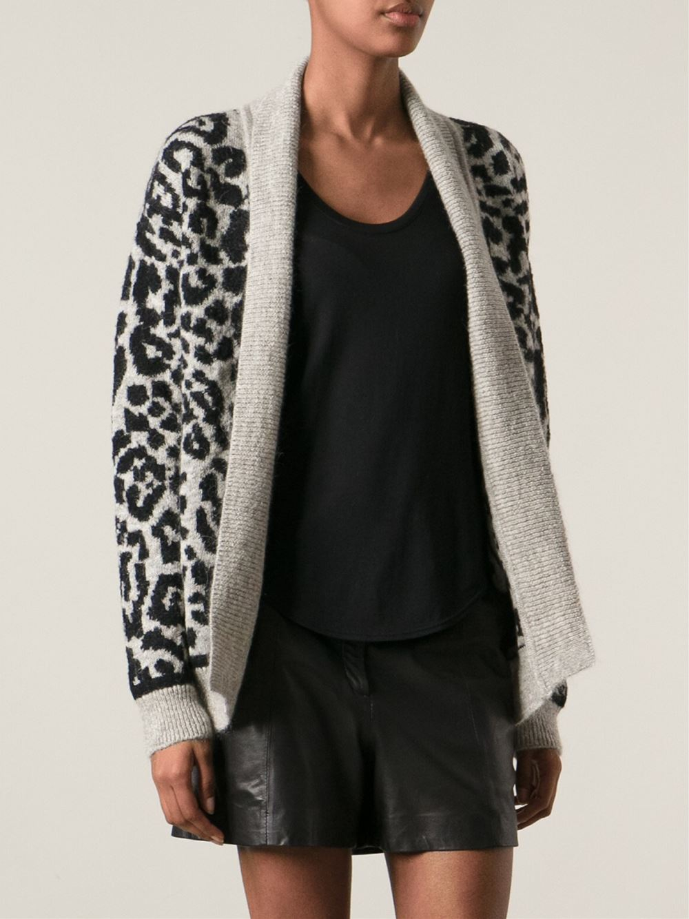 Iro Animal Print Cardigan in Black | Lyst