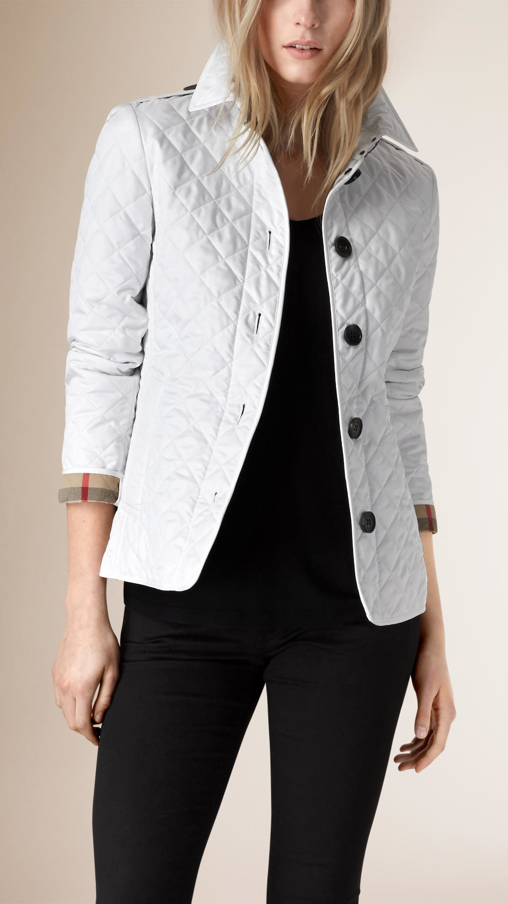 Burberry Diamond-Quilted Jacket in White | Lyst : diamond quilted jacket burberry - Adamdwight.com