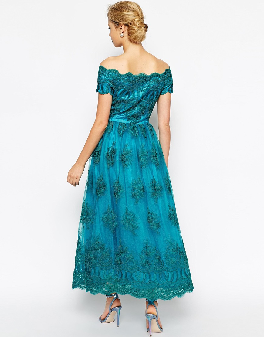 Lyst - Chi Chi London Premium Embroidered Off Shoulder Prom Dress ...