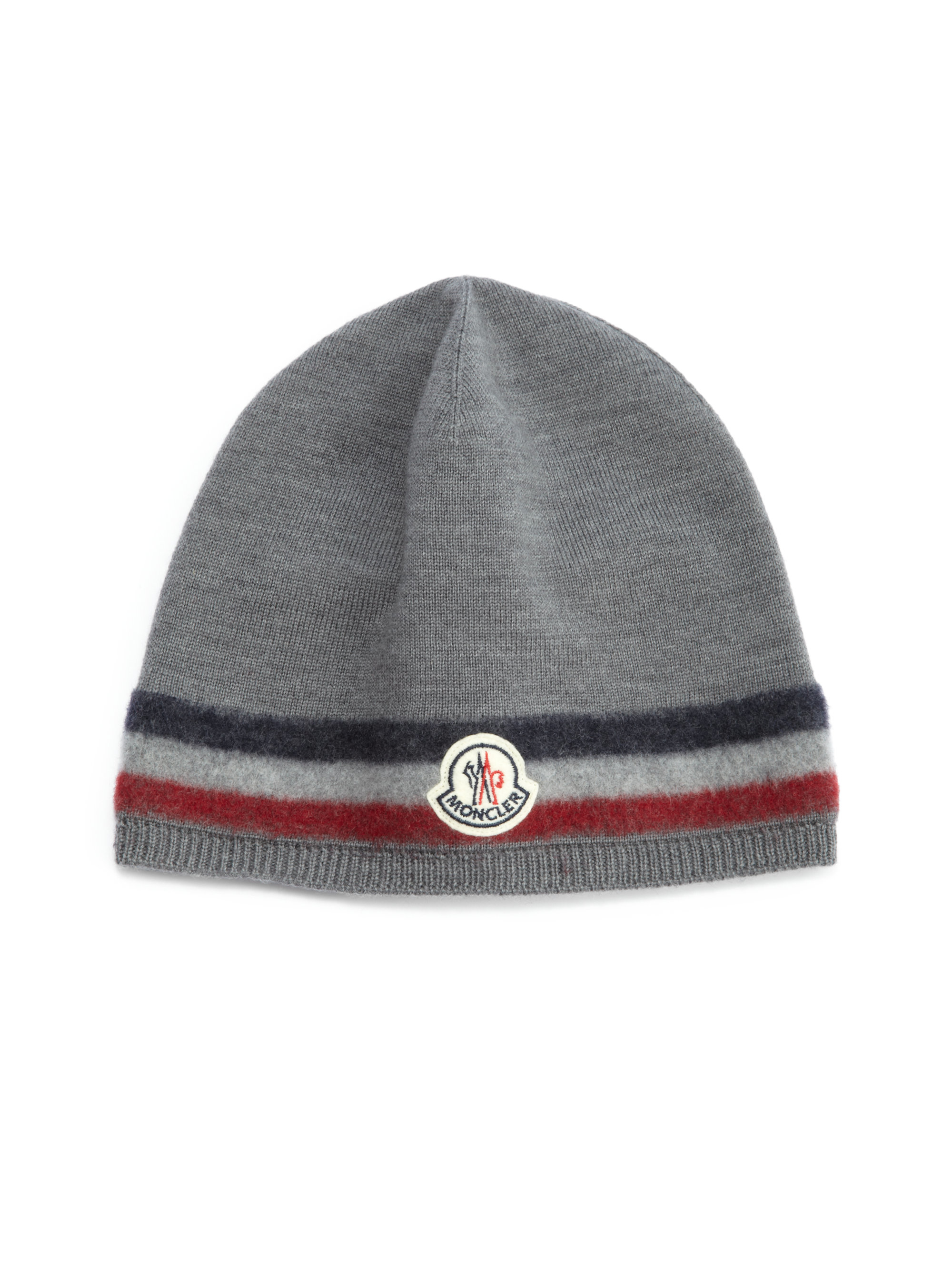 6b13cca040f5 Lyst - Moncler Striped Wool Hat in Gray for Men