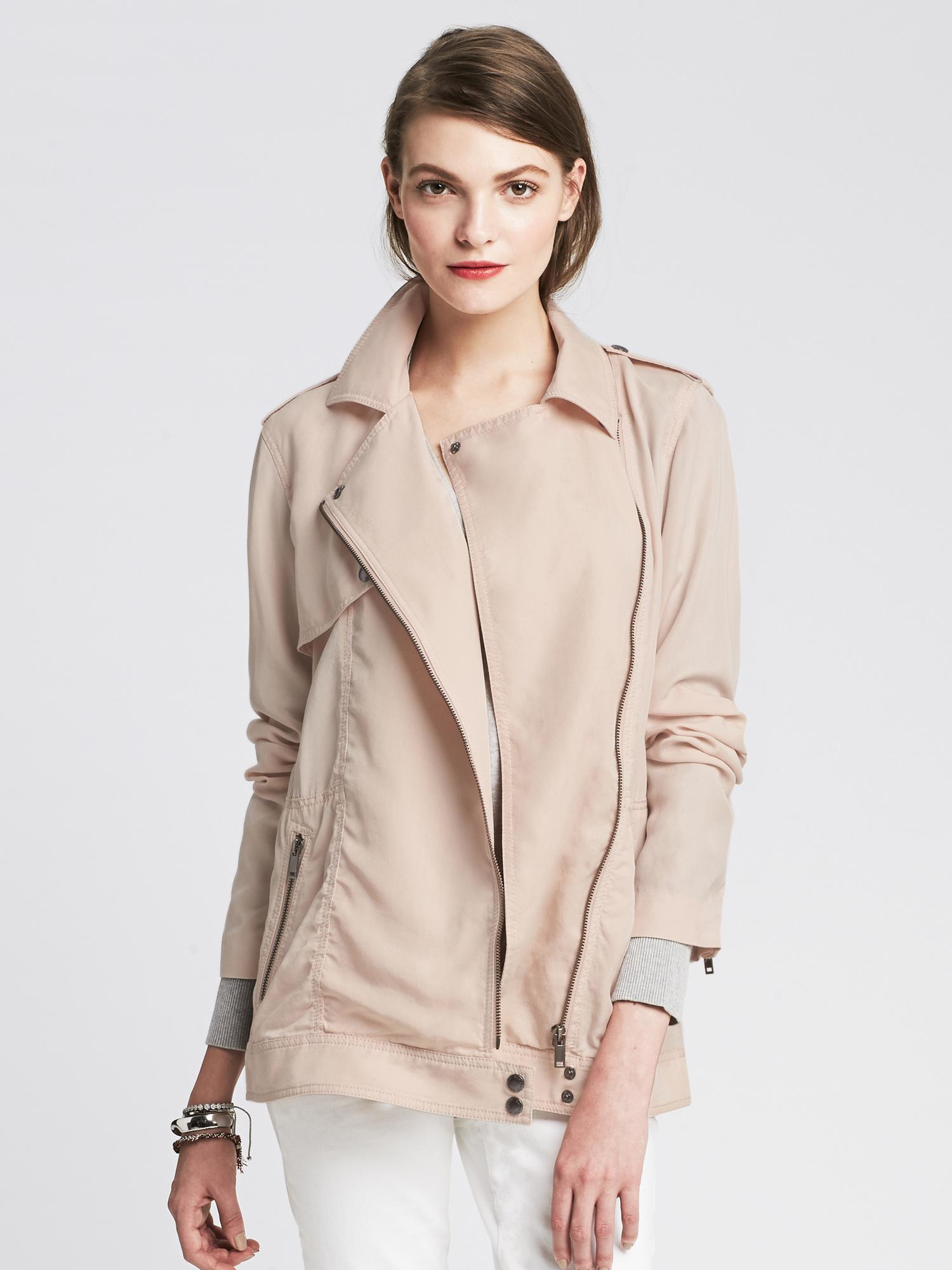 Banana Republic Drapey Moto Jacket In Pink Lyst