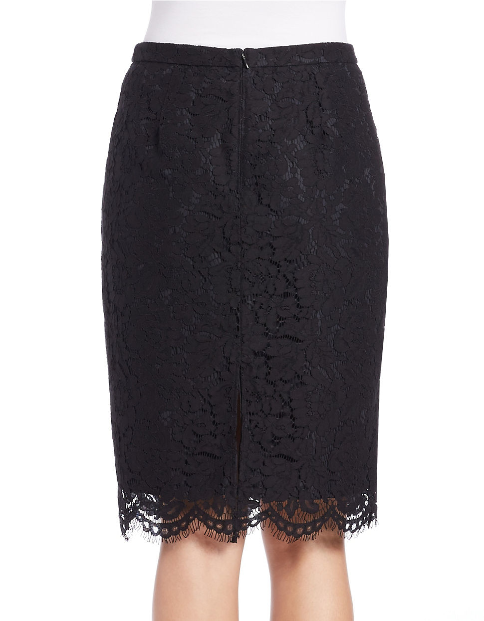 424 fifth floral lace pencil skirt in black lyst