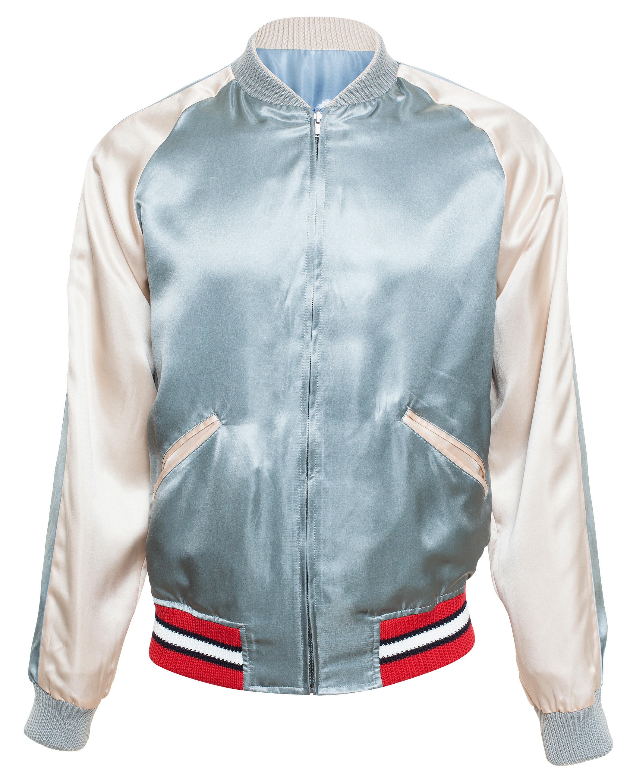 Gucci Reversible Satin Bomber Jacket in Blue for Men | Lyst