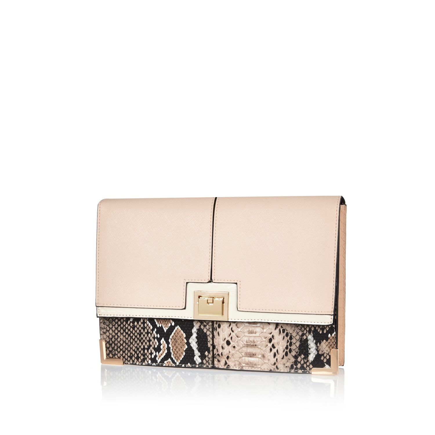 00d25204ea1a River Island Snake Print Clutch Bag in Natural - Lyst