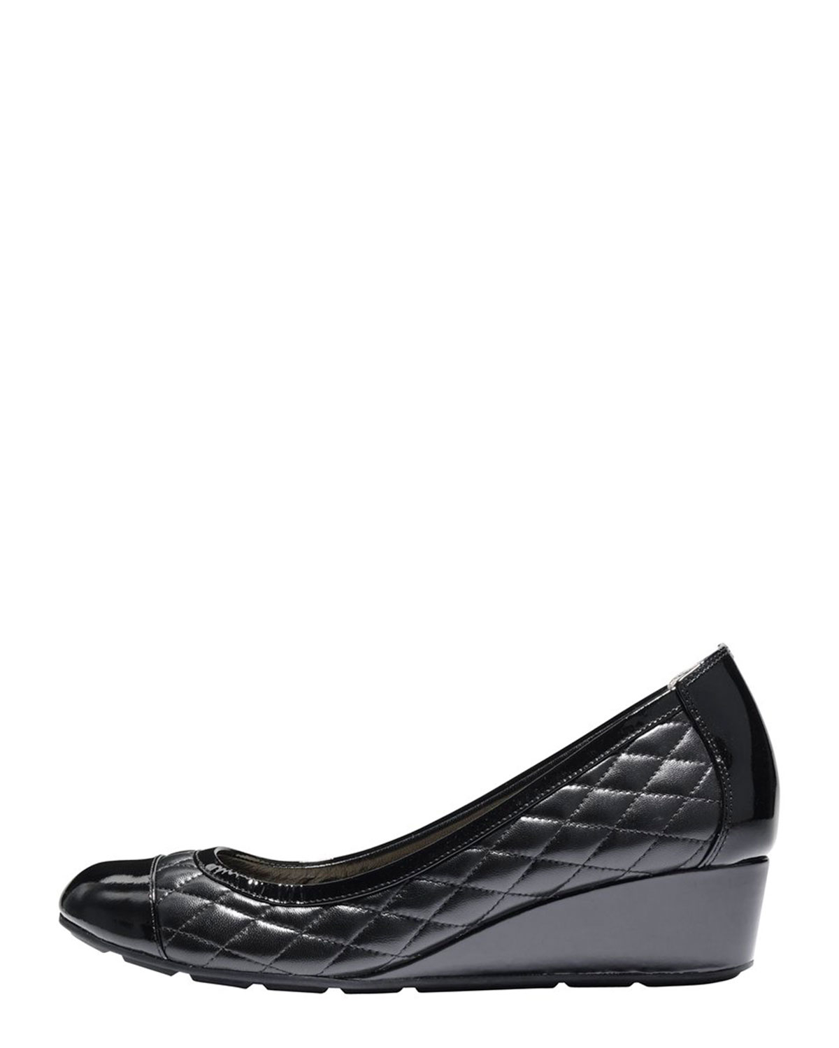 1d0e99ef523 Lyst - Cole Haan Tali Quilted Wedge Pump in Black