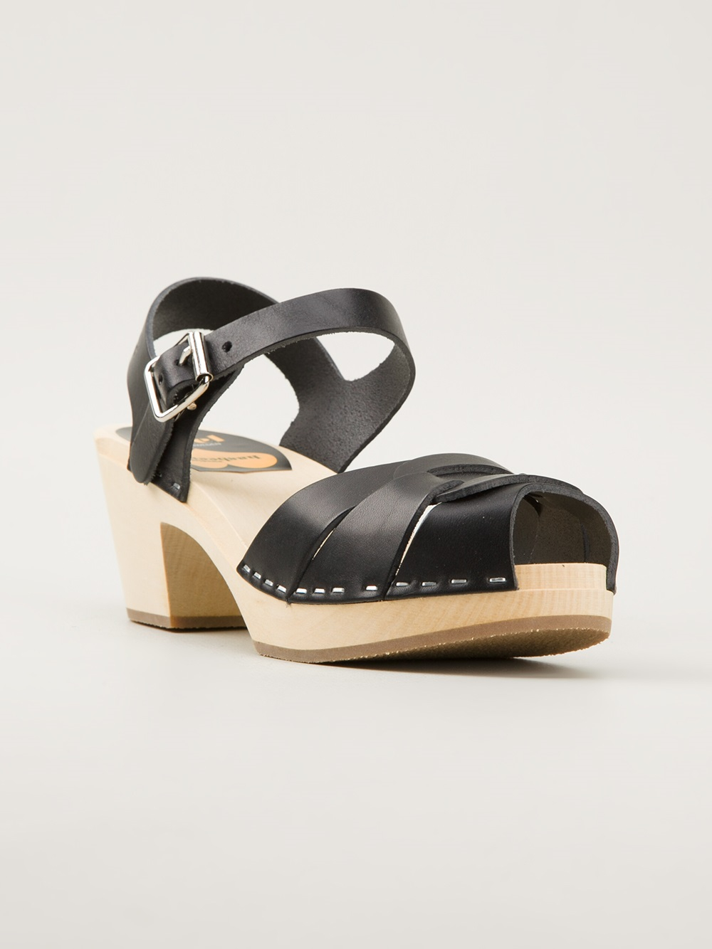 Lyst Swedish Hasbeens Wooden Sole Sandals In Black