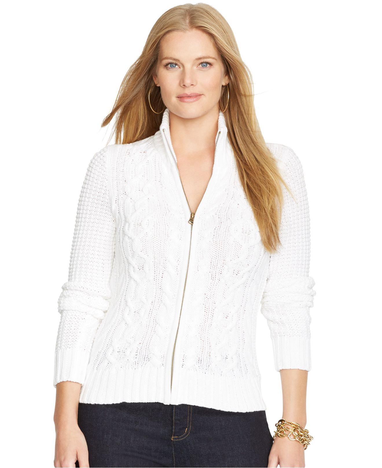 Lyst Lauren By Ralph Lauren Plus Size Cable Knit Zip Front