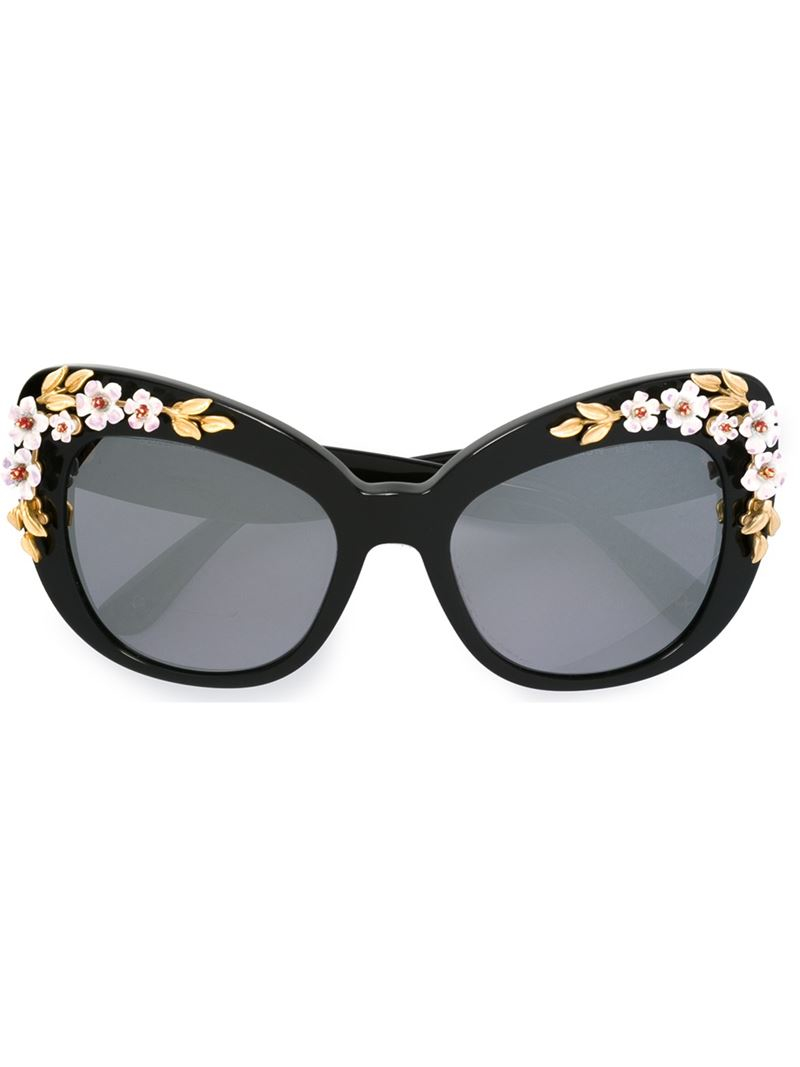 d70de83c6e56 Dolce   gabbana Floral Embellished Butterfly Sunglasses in Black