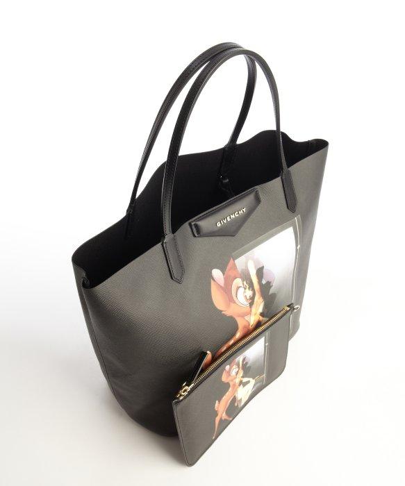 9e9c87a26f Givenchy Black Coated Canvas Bambi Antigona Medium Shopping Tote in ...