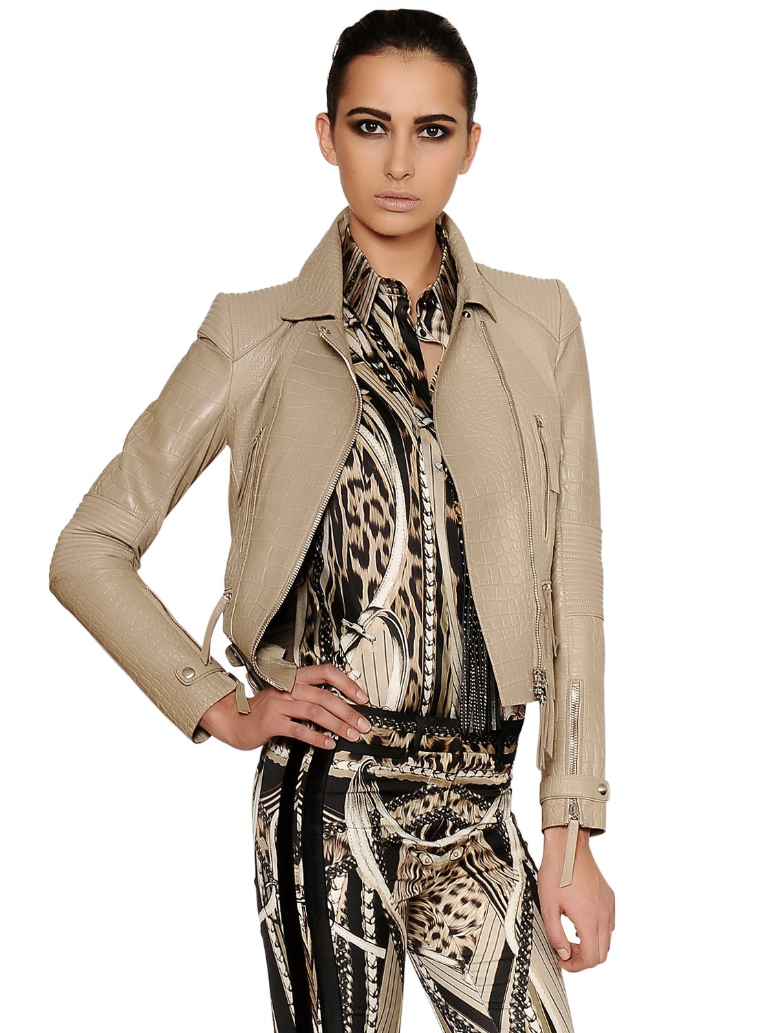 Lyst - Roberto Cavalli Crocodile Embossed Nappa Leather Jacket in ... 78d7c9a84
