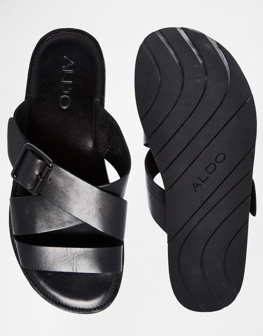 Lyst Aldo Sangha Leather Buckle Sandals In Black For Men