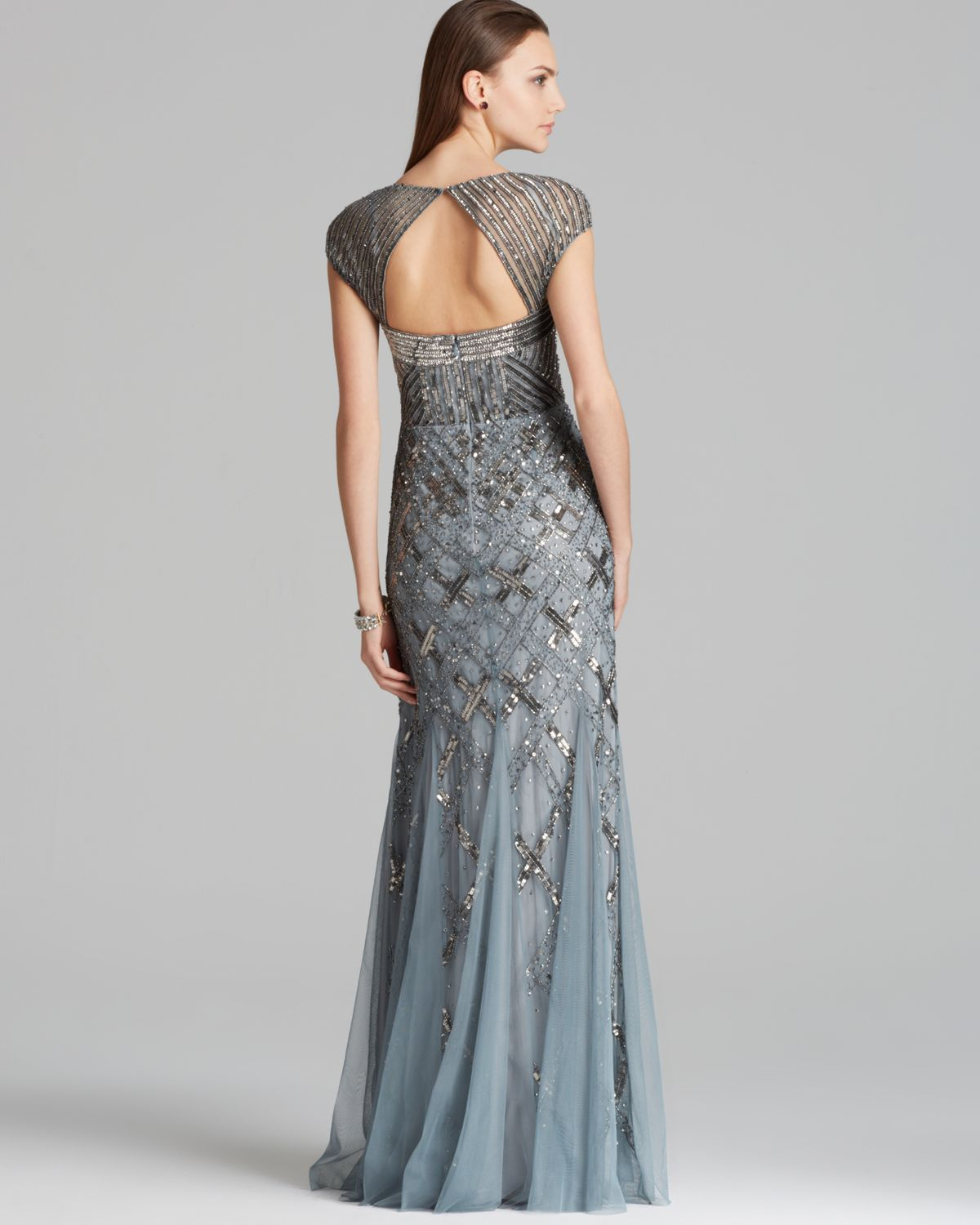 Lyst - Adrianna Papell Gown Cap Sleeve Beaded in Blue
