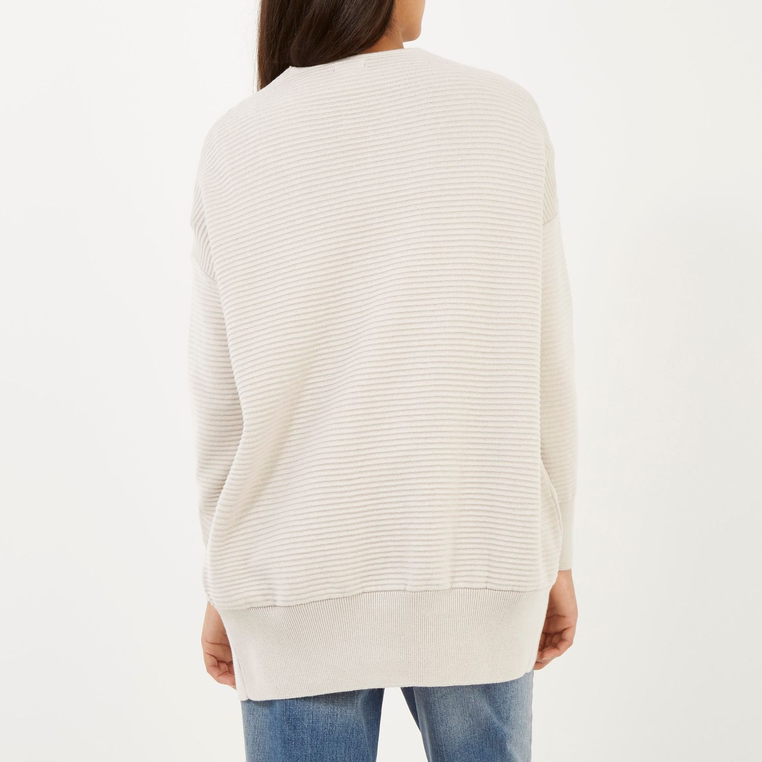 River island Cream Ottoman Ribbed Long Sleeve Cardigan in Natural ...