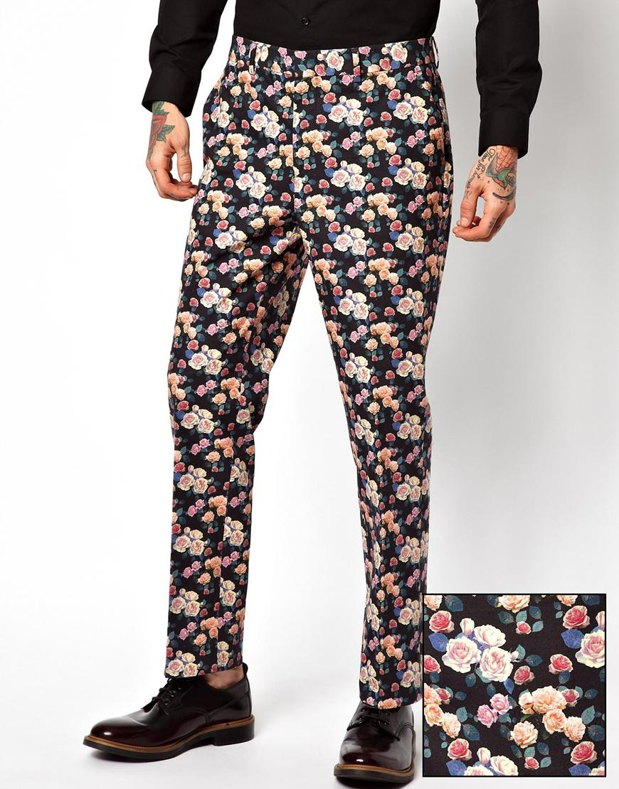 Asos Slim Fit Smart Trousers In Floral Print for Men | Lyst