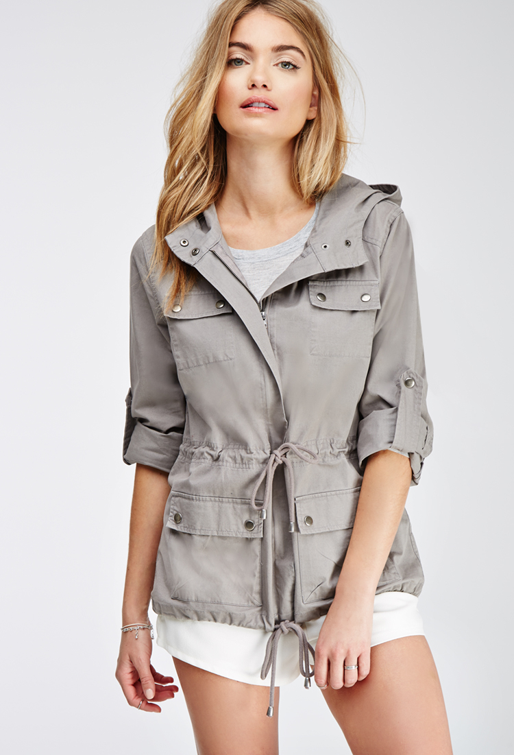 Forever 21 Contemporary Life In Progress Hooded Utility Jacket in Gray for Men | Lyst