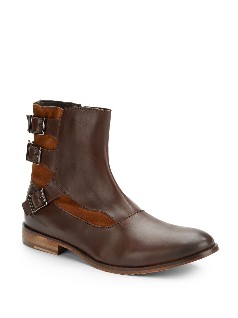 ben sherman remy leather moto boots in brown for lyst