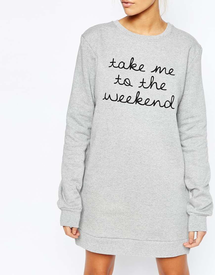 Adolescent clothing Boyfriend Sweater Dress With Weekend Print in ...