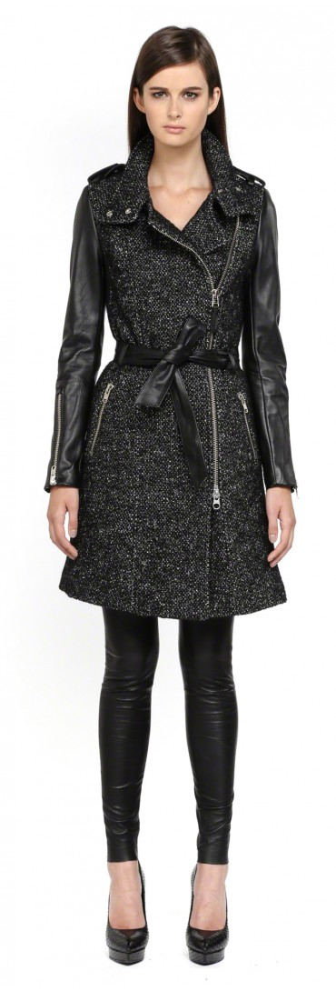 Mackage Xia Belted Black Wool Trench Coat With Leather Sleeves in ...