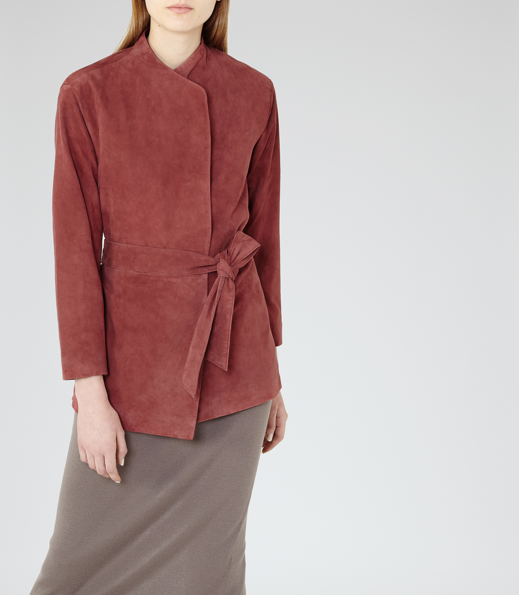 Lyst Reiss Willow Suede Wrap Jacket In Brown