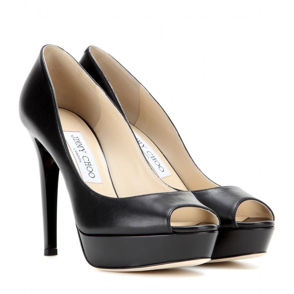 Lyst - Jimmy Choo Dahlia Leather Peep-toe Pumps in Black dbcfc0f83