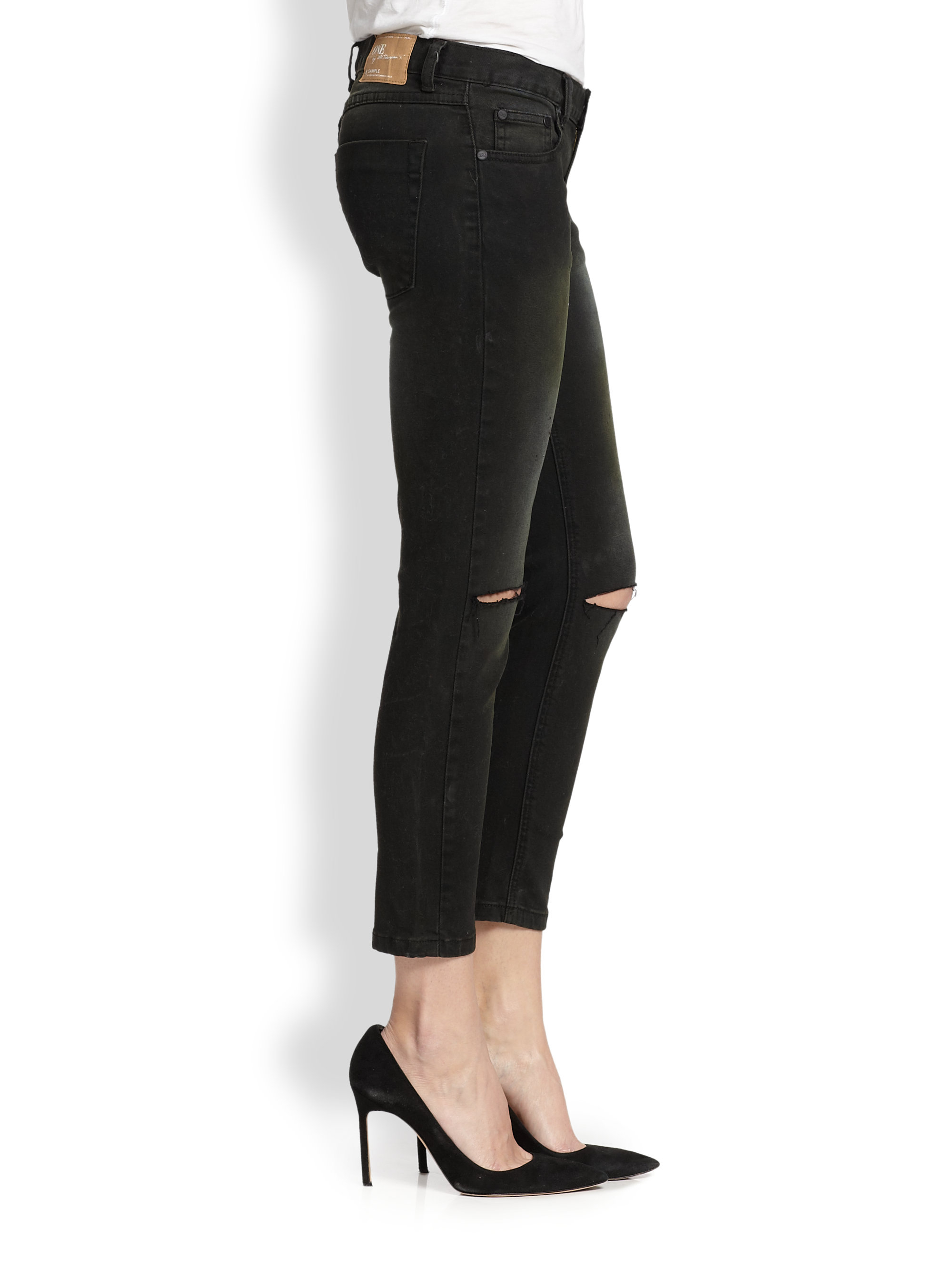One teaspoon Iggys Washed Distressed Cropped Skinny Jeans in Black ...