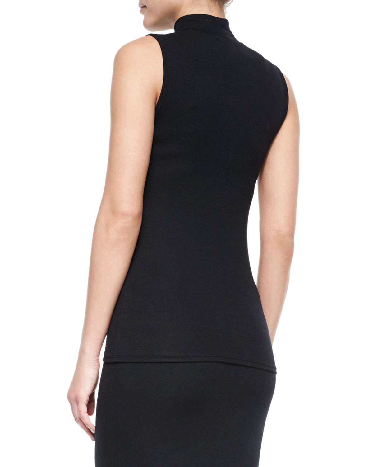 Atm Sleeveless Turtleneck Top In Black Lyst