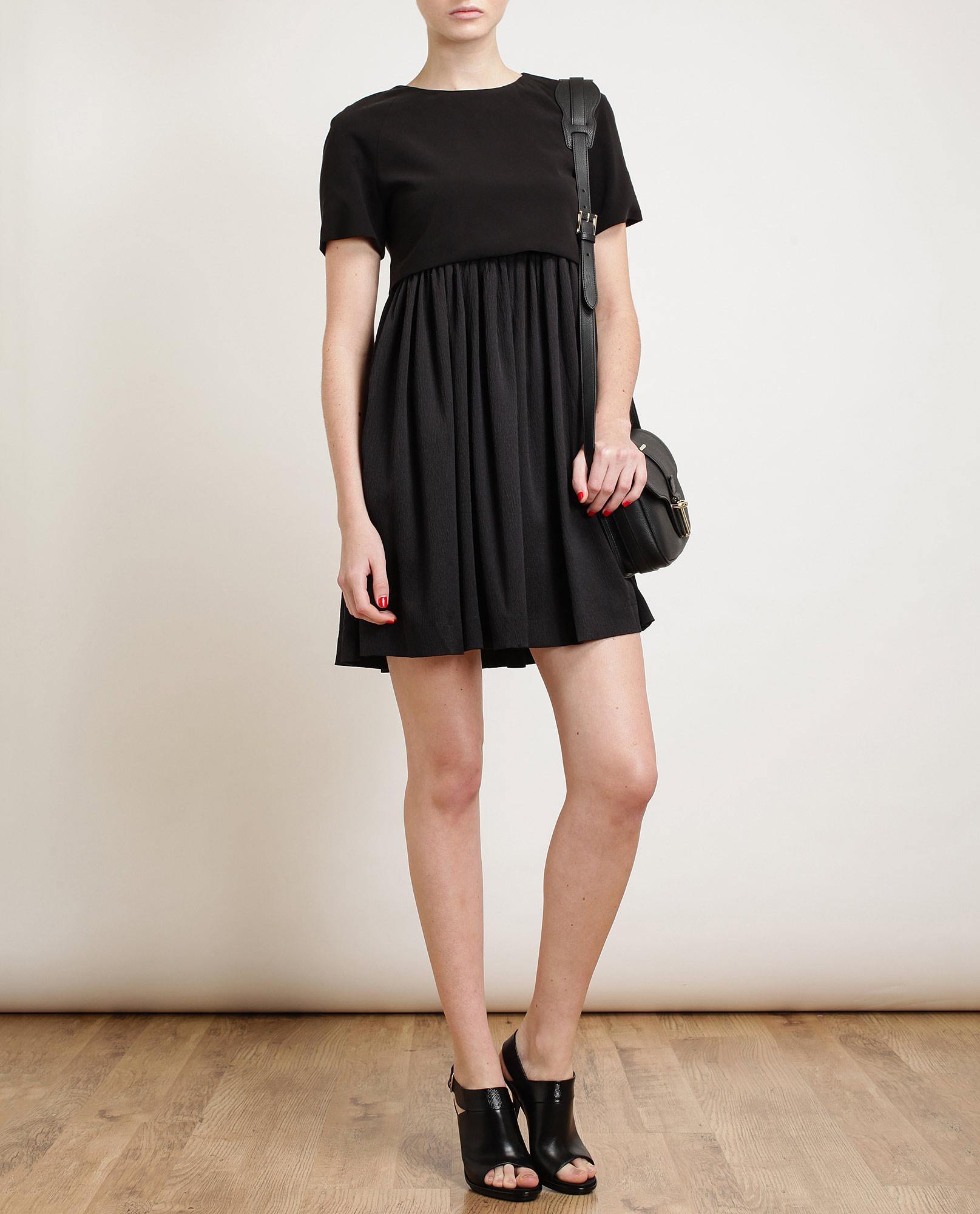 Balenciaga Crepe Silk Babydoll Dress In Black Lyst