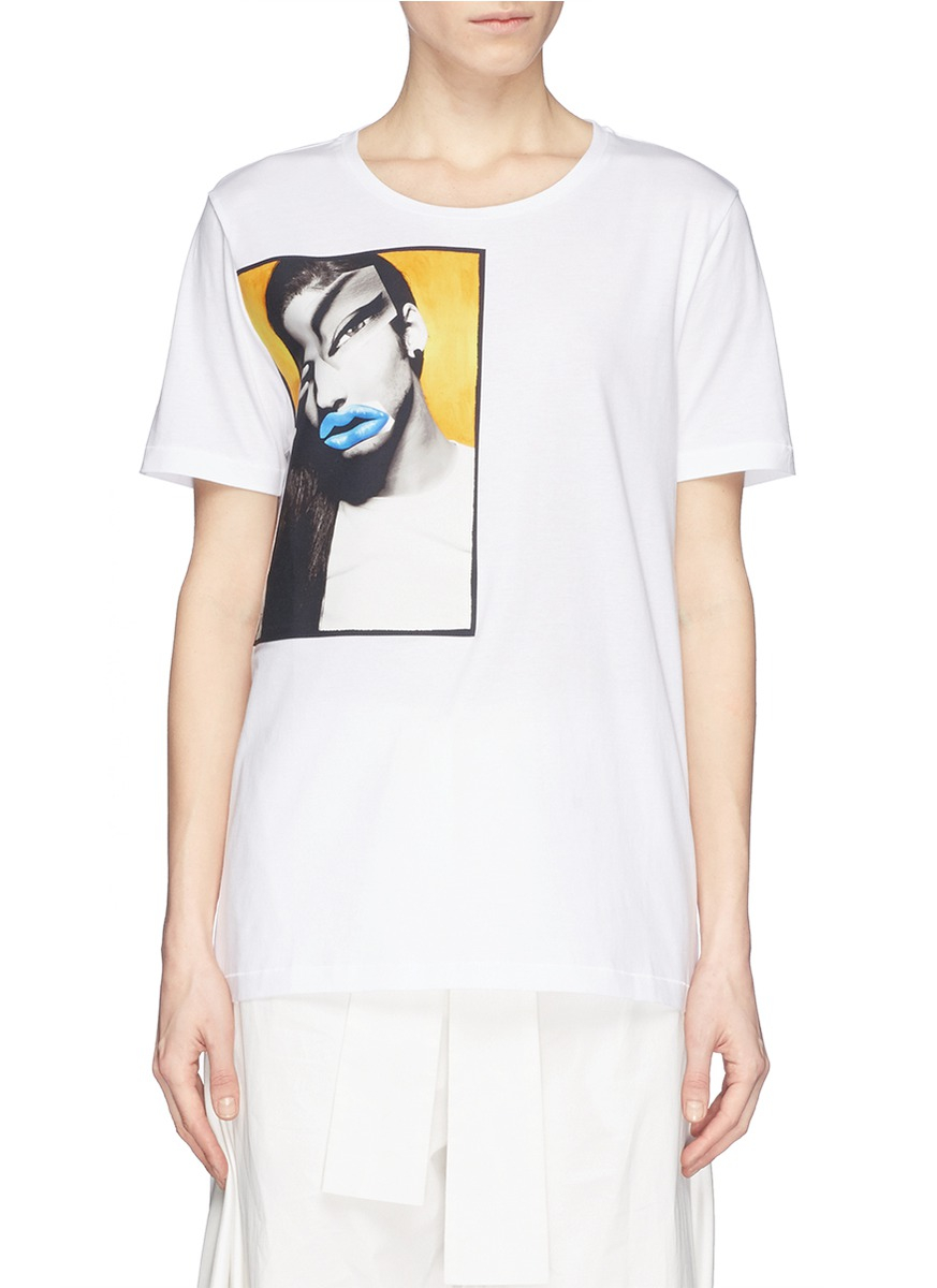 Lyst acne studios 39 vista 39 portrait print t shirt in white for Vista t shirt printing