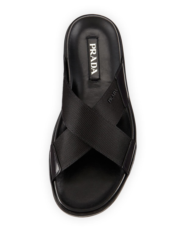 Prada Crisscross Nylon Sandal In Black For Men Lyst