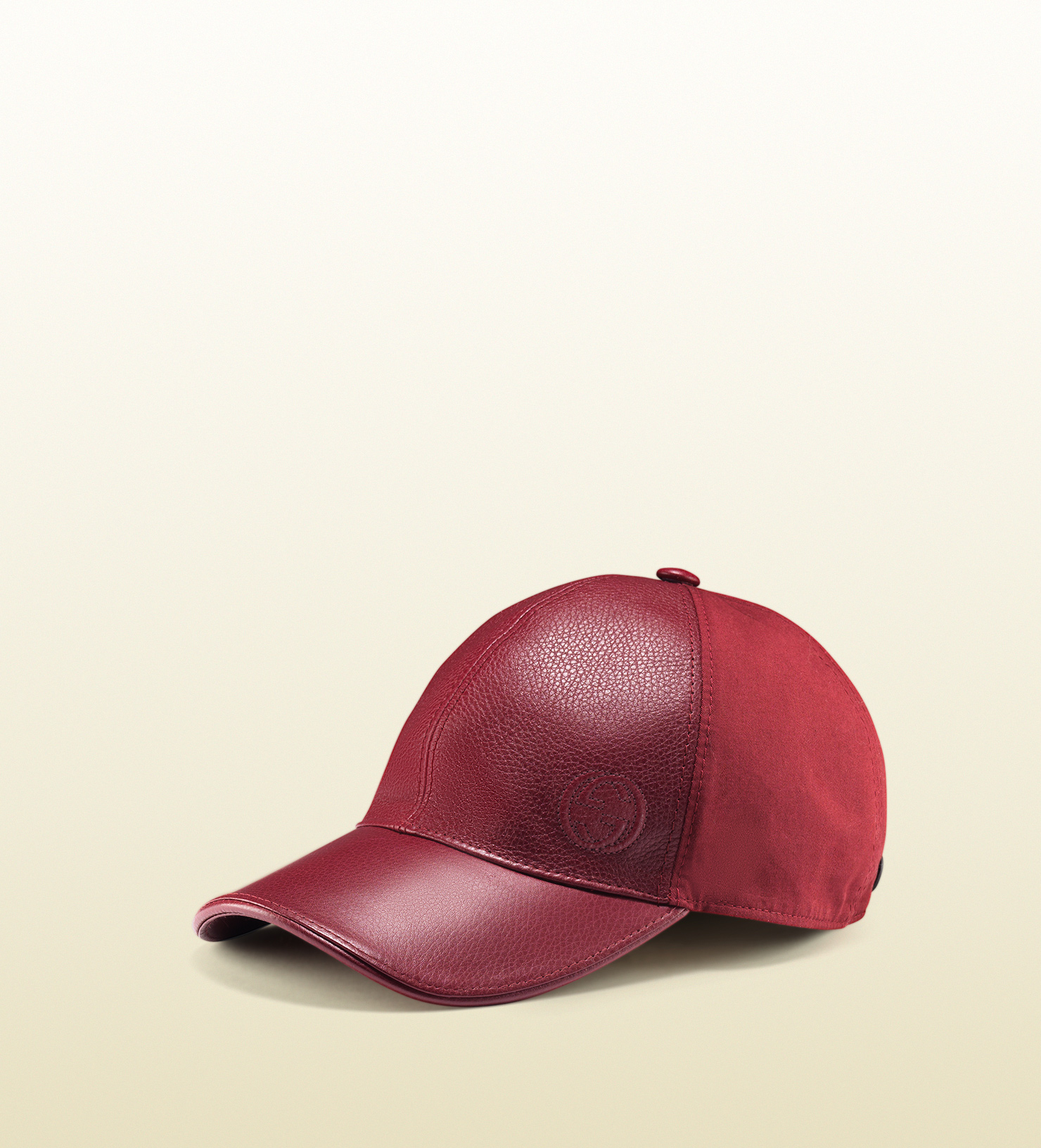 4db5703ce71 Lyst - Gucci Leather Linen Baseball Hat in Red for Men