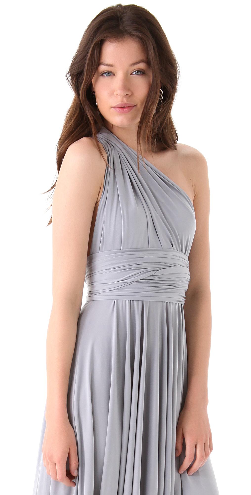 Twobirds Tea Length Convertible Dress Dove In Gray Lyst