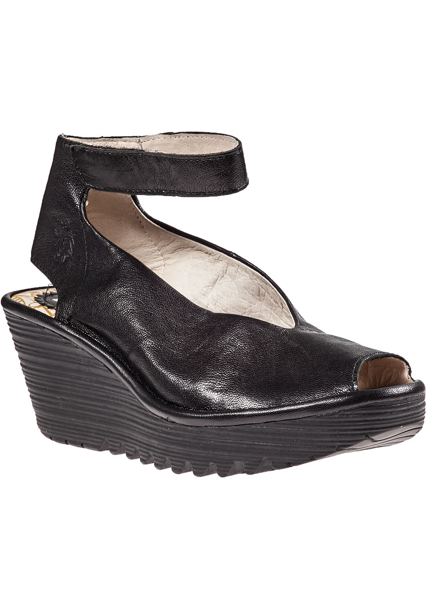 c2006906f18c Lyst - Fly London Yala Wedge Sandal Black Leather in Black