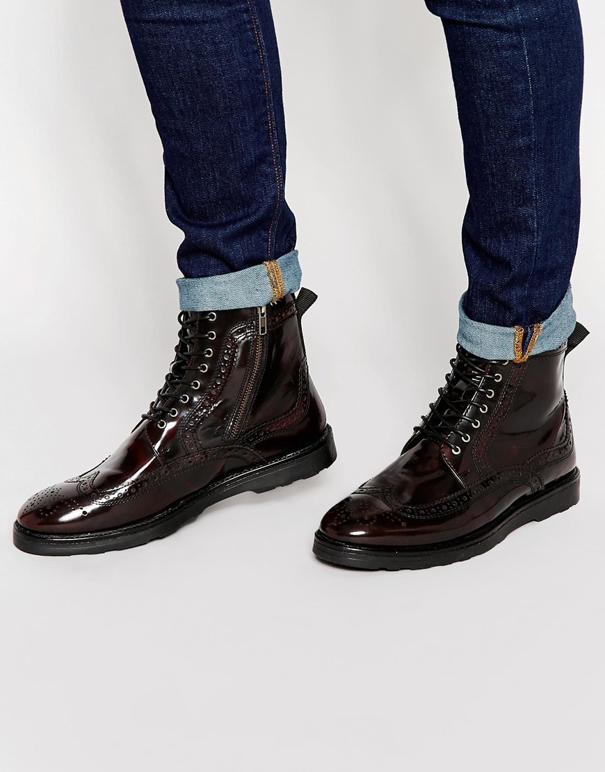 asos brogue boots in burgundy leather in for lyst