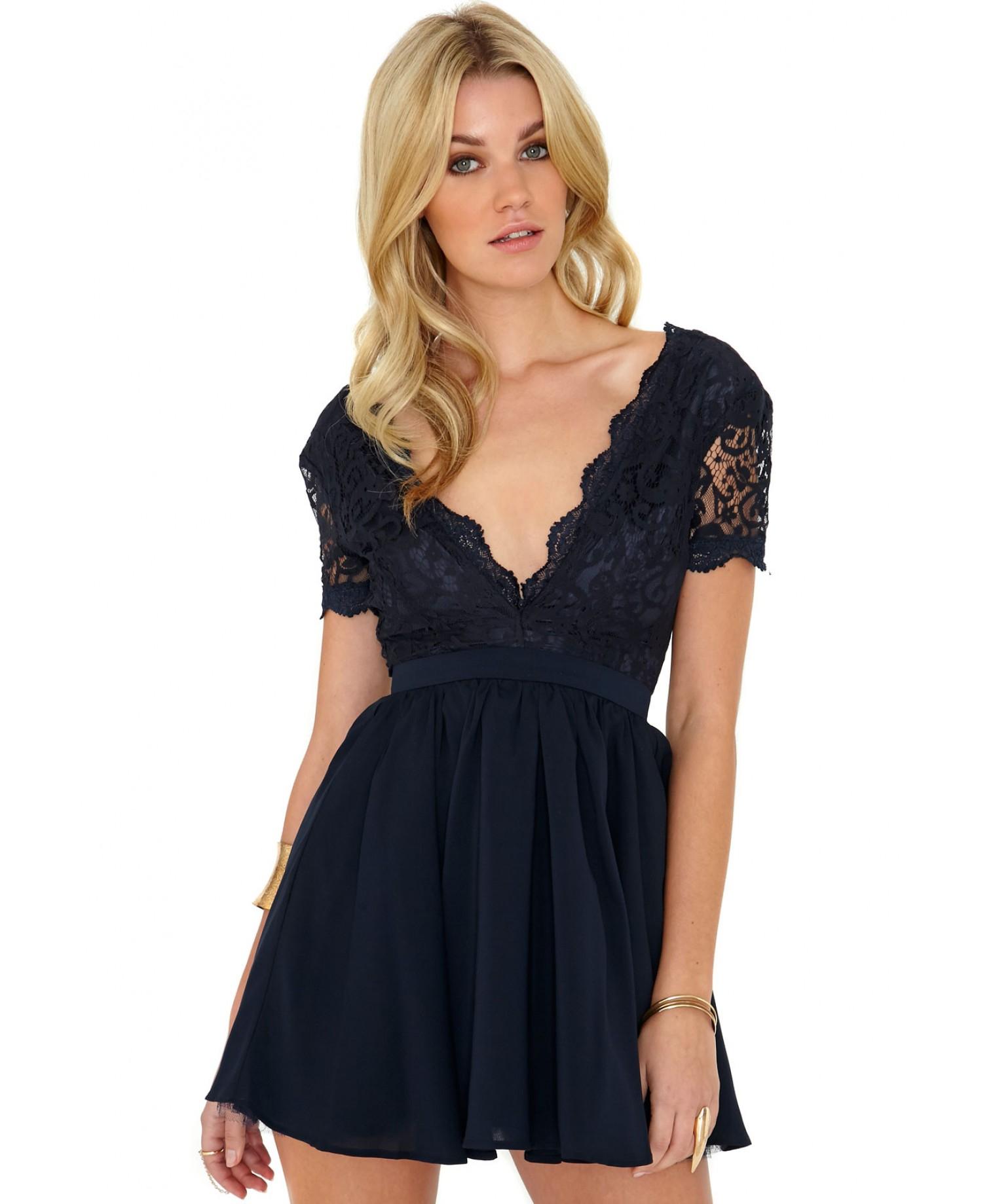 Black lace puffball dress