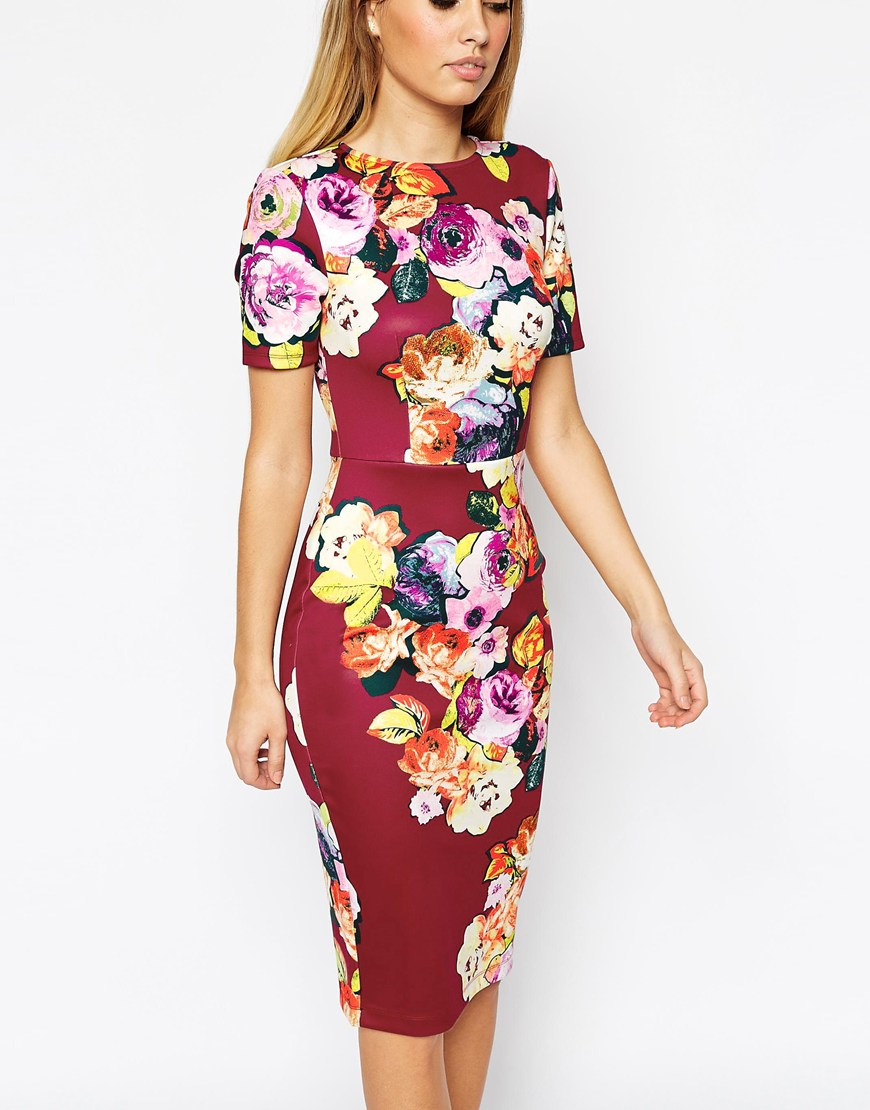 Lyst Asos Floral Print Scuba Bodycon Dress In Red